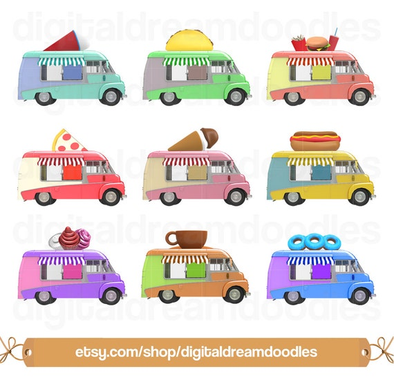 Food Truck Clipart Clip Art Ice Slush Image Pizza PNG Burger Graphic Fries Taco Hot Dog Cupcake Donut Digital Download From