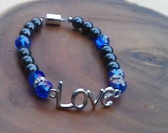 Hematite and Crystal Swarovski Bracelet