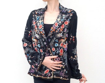 Beautiful 1920s jacket Chinese embroidered silk antique vintage 1930s Art Deco