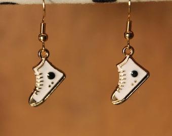 Sneaker Earrings, Converse Earrings, Chuck Taylor, Shoe Earrings, White Earrings, Gold Earrings, Enamel Earrings