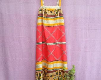 60s Dress 60s 70s Vintage Colorful Abstract Print Dress Bohemian maxi Sundress Festival Boho Hippie Dress medium large