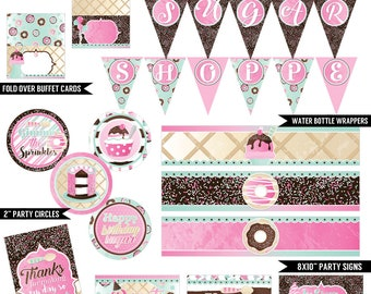 Sprinkles & Scoops Digital Printable Girls Ice Cream Parlour, Donut and Cake Birthday Party Printables Package INSTANT DOWNLOAD