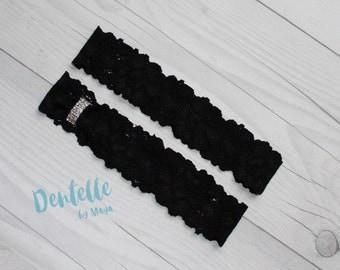 Black Lace Plain Garter SET