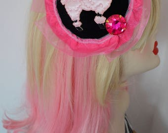 Pillbox Hat Fascinator Poodle Caniche Strass Millinery Bibi Fifties