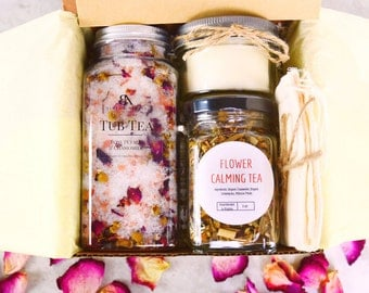 Relaxation Gifts basket Tea Gift Set Relaxation kit Bath gift set spa gift box spa gift basket Gifts for her Spa gift Gifts for her Tea Set