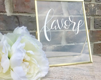 Favors sign / wedding favors sign / party favors sign / glass wedding sign / glass sign