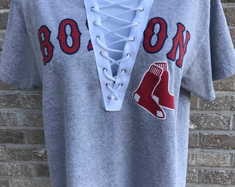 Vintage Boston Red Sox Ortiz #34 Lace-up Tee (M)