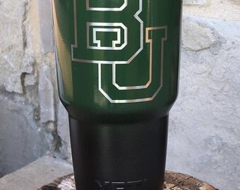 Baylor Universtiy Etch - NEW Authentic YETI Rambler or Ozark Trails Custom Powder Coat Dipped