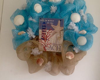 Beach Deco Mesh Wreath, Deco Mesh Wreath, Beach Wreath, Wreath, Beach and Sand Wreath