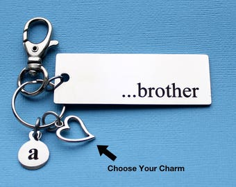 Personalized Family Key Chain Brother Stainless Steel Customized with Your Charm & Initial - K899