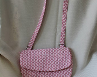 Purse with Pockets, Quilted Pink Purse, Over Shoulder Bag,