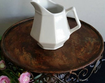 White Creamer/White stoneware/Farmhouse kitchen/cottage kitchen/white pitcher/Petite pitcher