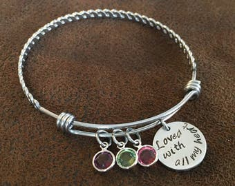 """mom bracelet, Mother's Day gift, Mother's Day bangle bracelet with kids birthstones, hand stamped """"loved with all my heart"""" mom bracelet"""