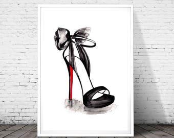 Christian Louboutin Illustration, Fashion Wall art, Fashion Print, Fashion Sketch, High heel shoes decorations, Fashion poster, watercolor