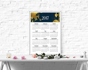 Wall calendar 2017 Printable calendar Large by SimpleSweetPrints