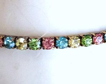 Pastel Bracelet, Tennis Bracelet, Stretch Bracelet, Vintage Bracelet, Spring Bracelet,Tennis Bracelet,Multi Color Bracelet,Mothers Day Gifts