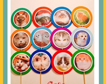 Cat Cupcake Toppers | 12 Cat Birthday Decorations, Cat Party Favors, Kitty Cat Party, Cat Party Decorations, Cat Baby Shower