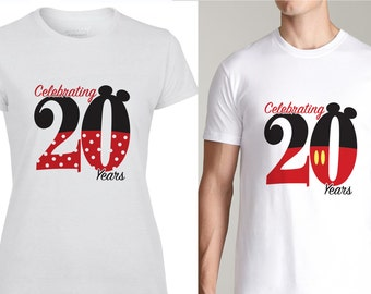 Mickey and Minnie inspired Wedding Anniversary shirts. 2 shirt set.