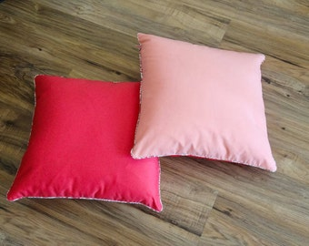 Two-tone Cushion cover, liberty, pink piping