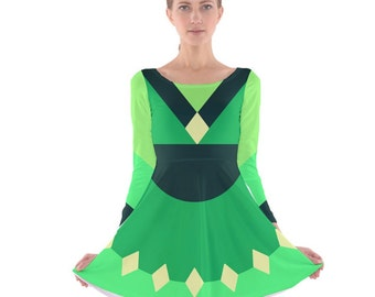 Peridot Cosplay Dress - Skater Dress Steven Universe Dress Crystal Gem Dress Green Dress Peridot Skater Dress Nerdy Dress Geeky Dress