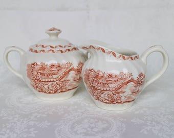 Swinnertons Pagoda Creamer and Sugar Bowl, Vintage Red Transfeware Lidded Sugar Bowl with Handles and Creamer, Asian Pagoda Jug Pitcher