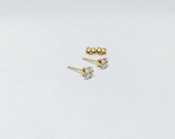 Cubic zirconia earrings, 14k gold cubic zirconia studs, gold cz earrings, cubic zirconia studs, synthetic diamond earrings, gold cz studs
