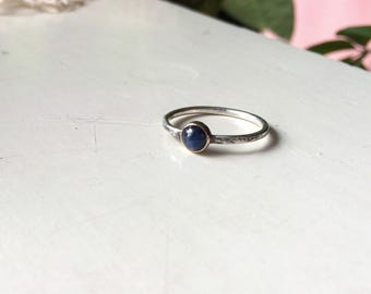 Dark Blue Sapphire with 14K gold Ring, Sterling Silver, Ready to ship in size 7