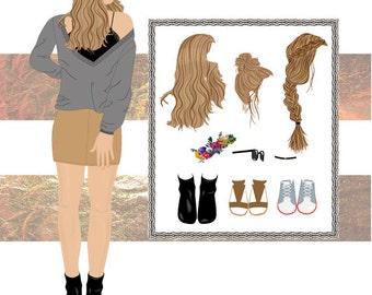 Fashion figure croquis template for fashion illustration, fashion design drawing- Cassie the fashion model