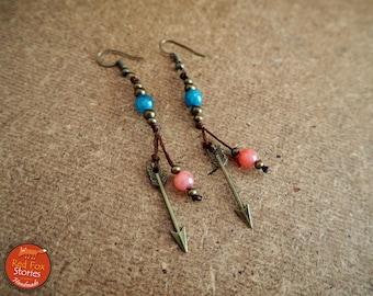 Bohemian Earrings with arrow and gemstones, tribal earrings, native american earrings, boho jewelry, native american jewelry, arrow earrings