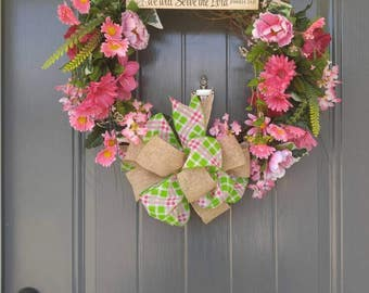 Flower Wreath, Grapevine Wreath, Summer Wreath, Spring Wreath, Door Wreath