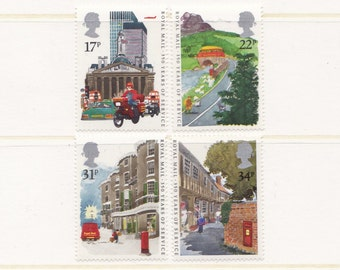 1985 Royal Mail Mint Unused Postage Stamps; post office, postbus, parcel, delivery services, letters, red postbox, buildings, collecting,MNH