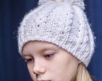 Hand knit winter hat with pom pom, Cabled Fall and Winter Hat, Braided Chunky Hat,  Women Slouchy Hat, Girl's Pom Pom Hat, gift for her