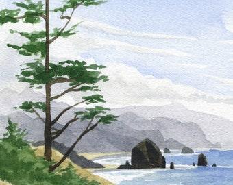 Cannon Beach original painting, Oregon coast watercolor art, Ecola State Park, Haystack Rock, beach, ocean framed artwork
