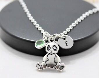 Panda Bear Necklace - Panda Necklace - Personalized - Panda Lover - Panda Jewelry - Silver Panda - Panda Bear Gift