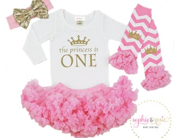 First Birthday Outfit, 1st Birthday Outfit Girl, One Birthday, Girls Gold Pink Birthday, Birthday Princess, Pink Tutu