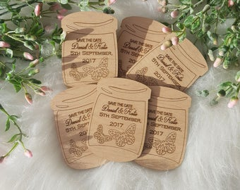 Wedding save the date .  Rustic Wedding.Wood magnet save the date , mason jar.