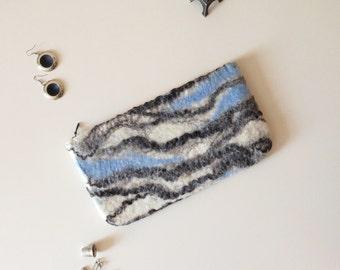 Wool Clutch with Marble Pattern - Felt Clutch, Clutch Purse, Clucth Bag, Felt Purse, Wool Bag, Small Bag, Felt Bag, Evening Bag, Felt Purse