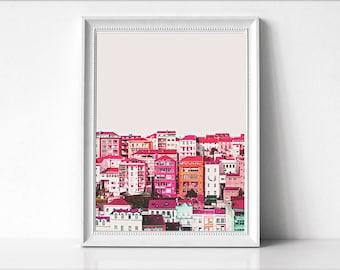 City Scape Print, Architecture Art Poster, Large Poster, Colorful Buildings Photo, Color Print, Art Decor, Architecture Print,