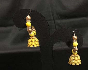 Yellow Jhumki Earrings - Jhumki Indian Earrings - Indian Jewelry - South Indian Jewelry - Temple Jewelry - Indian Bridal Jewelry - Desi -