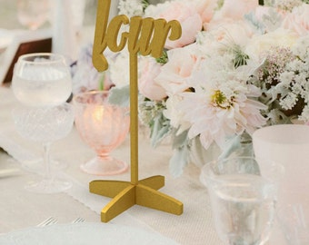 Table Numbers - Freestanding - - Gold Table Numbers  - Wedding Table Number - Golden table numbers - Table Number