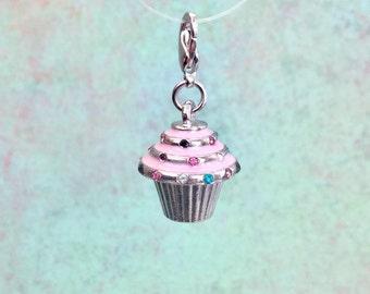 Cupcake Charm, Pink Icing, Rhinestone Sprinkles, Nickel Free, Lead Free, Lobster Claw Clasp, Cute, Bakery, Sweets