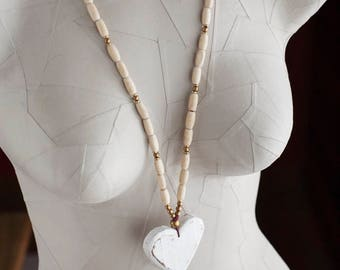 Cream and White Wooden Heart Necklace