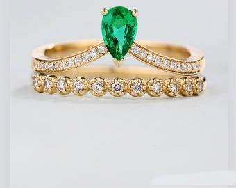 2pcs Pear shaped Engagement Ring set vintage Emerald wedding Ring set Half eternity Diamond wedding band women bridal Stacking Promise