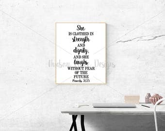 She is Clothed in Strength and Dignity Proverbs 31:25 SVG Christian svg file Faith SVG png file pdf file christian sign sign stencil design