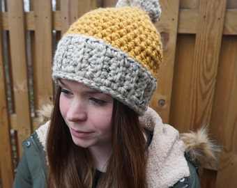 Two-Toned PomPom Hat - Multiple Colors Available