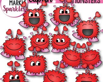 Valentine's Day Love Happy Monsters Clipart Set