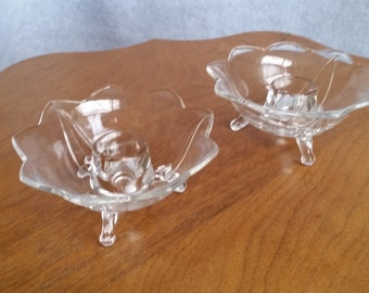 Fenton Clear Glass Lotus Flower Footed Candle Holders