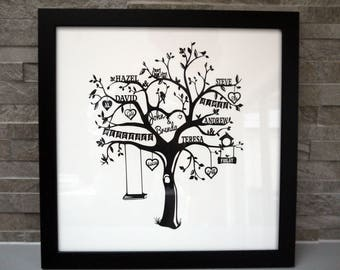 Personalised family tree papercut, personalized gift, custom made, handmade, family names, cut from A3 card