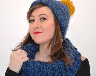 Hand knitted Scarf Blue denim skarf Hood cowl scarf Chunky wrap Women Knit Scarf Circle Scarf Oversized Cowl Infinity wrap lWool scarf