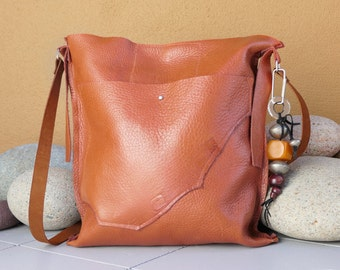 Light Brown Leather Handbag - Handmade Purse